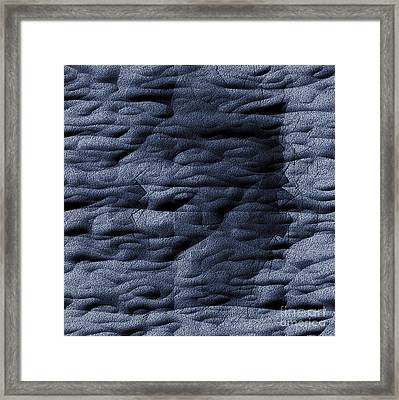 Blue Folds - Abstract Relief No. 16.0108-02 Framed Print by Jason Freedman