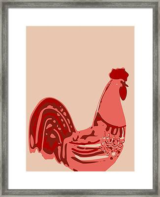 Abstract Rooster Contours Glaze Framed Print by Keshava Shukla