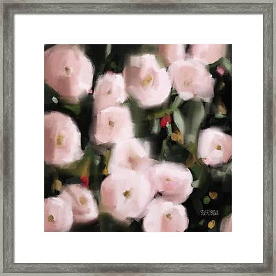 Abstract Roses Peach And Light Pink Framed Print by Beverly Brown