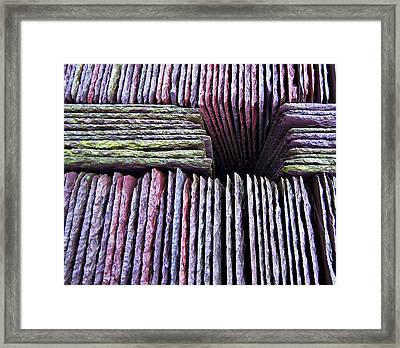 Abstract Slate Pile Framed Print by Meirion Matthias