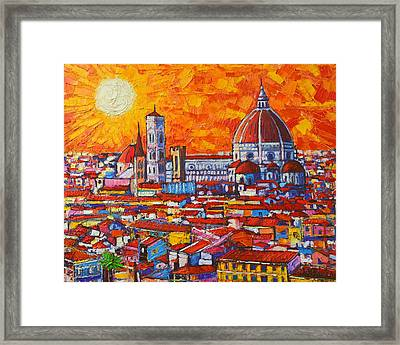 Abstract Sunset Over Duomo In Florence Italy Framed Print by Ana Maria Edulescu