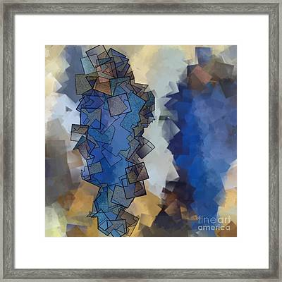 Blue Figures - Abstract Tiles No15.822 Framed Print by Jason Freedman