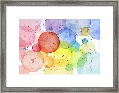 Abstract Watercolor Rainbow Circles Framed Print by Olga Shvartsur