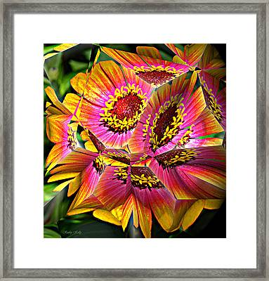 Abstract Yellow Flame Zinnia Framed Print by Kathy Kelly