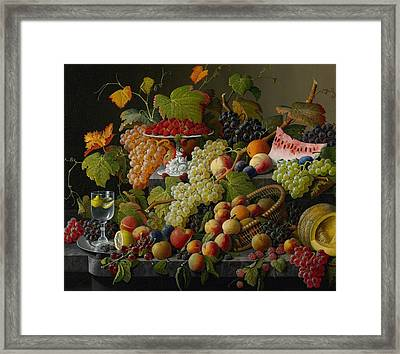 Abundant Fruit Framed Print by Severin Roesen