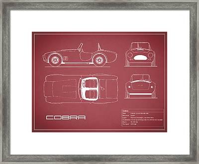 Ac Cobra Blueprint - Red Framed Print by Mark Rogan