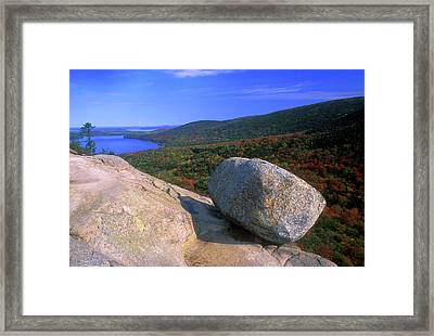 Acadia Bubble Rock Framed Print by John Burk