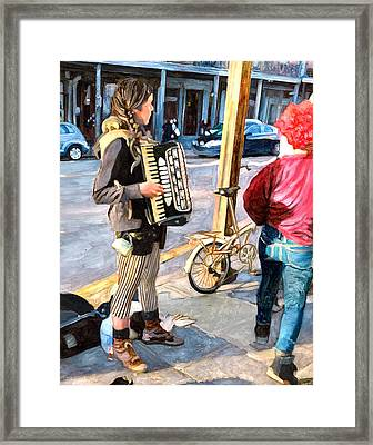 Accordian Busker Framed Print by John Boles
