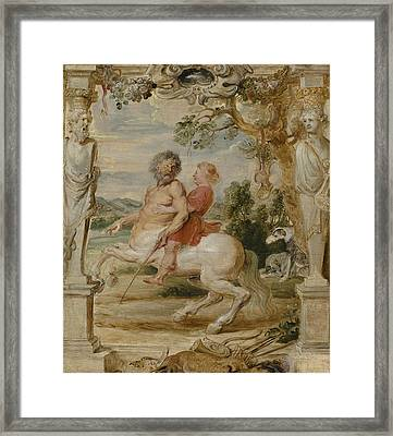 Achilles Educated By The Centaur Chiron Framed Print by Peter Paul Rubens
