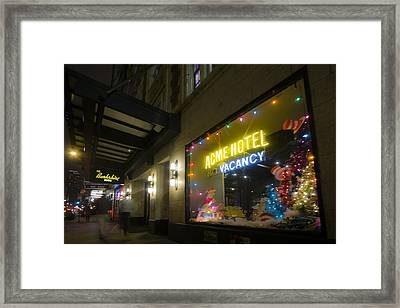 Acme Hotel Holiday Street Scene Framed Print by Sven Brogren