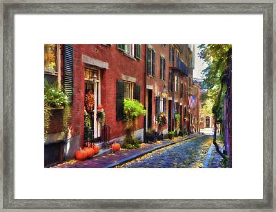 Acorn Street In Autumn Framed Print by Joann Vitali