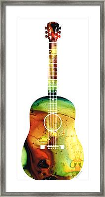 Acoustic Guitar - Colorful Abstract Musical Instrument Framed Print by Sharon Cummings