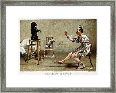 Acrobat Teaching Dog New Tricks, 1889 Framed Print by Wellcome Images