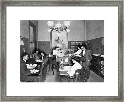 Active Office Interior Framed Print by Underwood Archives