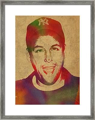 Adam Sandler Comedian Actor Watercolor Portrait On Canvas Framed Print by Design Turnpike