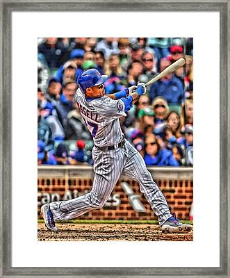 Addison Russell Chicago Cubs Framed Print by Joe Hamilton