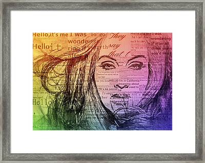 Adele Hello Typography  Framed Print by Dan Sproul