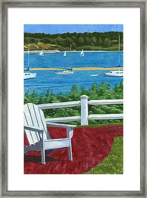 Adirondack Chair On Cape Cod Framed Print by Dominic White