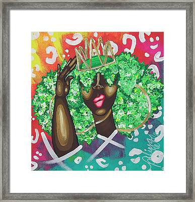 Adjusting My Mfkn Crown Framed Print by Aliya Michelle