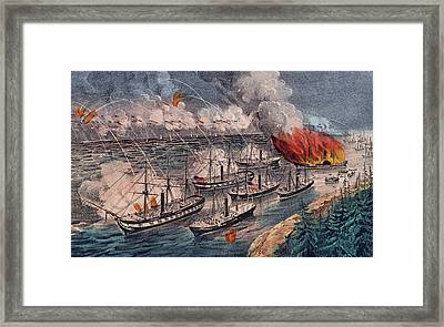 Admiral Farragut's Fleet Engaging The Rebel Batteries At Port Hudson Framed Print by American School