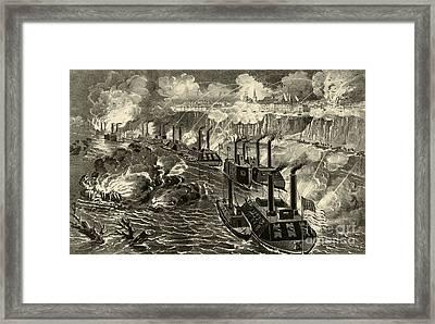 Admiral Porter's Fleet Running The Rebel Blockade Of The Mississippi At Vicksburg Framed Print by American School