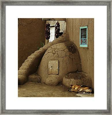 Adobe Oven Framed Print by Angela Wright