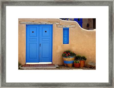 Adobe Walls With Blue Doors Ranchos De Taos New Mexico Framed Print by George Oze