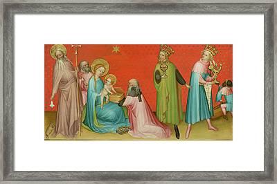 Adoration Of He Magi With Saint Anthony Abbott Framed Print by Franco Flemish Master