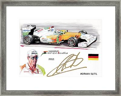 Adrian Sutil Framed Print by Karl Hamilton-Cox