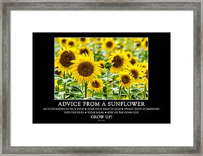 Advice From A Sunflower Framed Print by Teri Virbickis