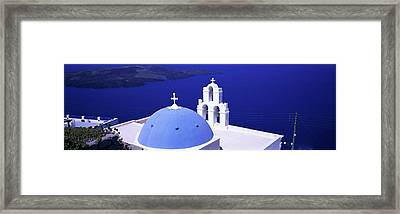 Aegean Sea Firostefani Santorini Greece Framed Print by Panoramic Images