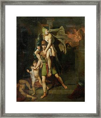 Aeneas Fleeing With His Father Framed Print by MotionAge Designs