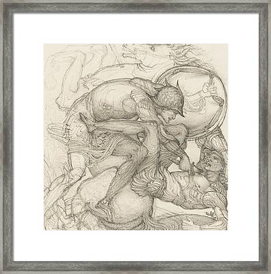 Aeneas Slaying Mezentius Framed Print by Sir Edward Coley Burne-Jones