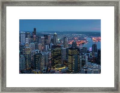Aerial Downtown Seattle Dusk Details Framed Print by Mike Reid