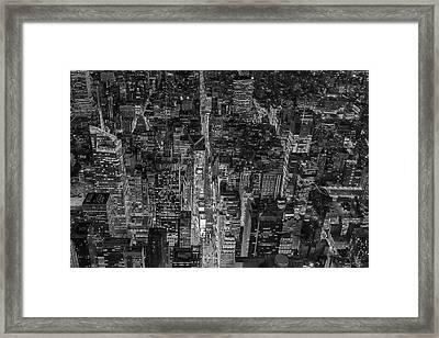 Aerial New York City 42nd Street Bw Framed Print by Susan Candelario