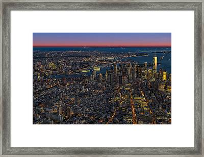 Aerial New York City Sunset Framed Print by Susan Candelario