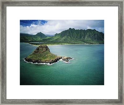 Aerial Of Chinamans Hat Framed Print by Peter French - Printscapes