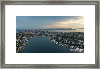 Aerial Seattle Queen Anne Lake Union And Beyond Framed Print by Mike Reid