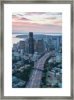 Aerial Seattle Skyline And Interstate 5 Framed Print by Mike Reid