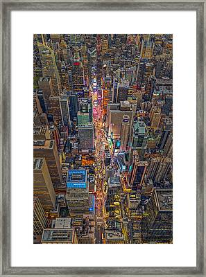 Aerial Times Square New York City  Framed Print by Susan Candelario