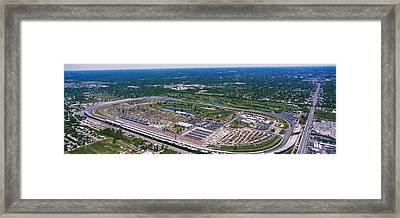 Aerial View Of A Racetrack Framed Print by Panoramic Images