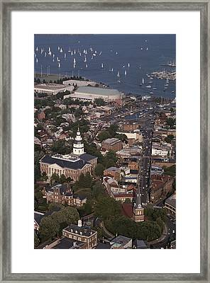 Aerial View Of Annapolis. The Framed Print by Annie Griffiths