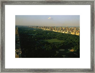 Aerial View Of Central Park, An Oasis Framed Print by Melissa Farlow