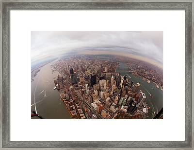 Aerial View Of City Framed Print by Eric Bowers Photo