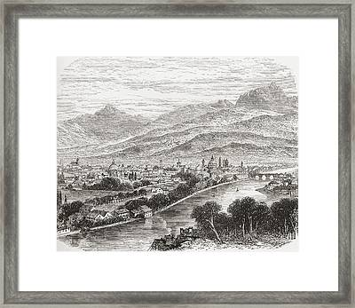 Aerial View Of Innsbruck, Tyrol Framed Print by Vintage Design Pics