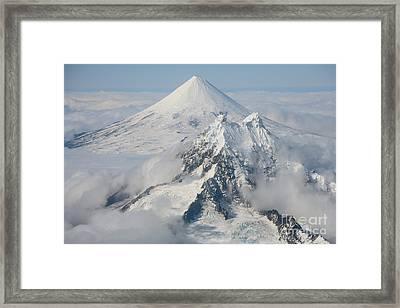 Aerial View Of Shishaldin Volcano Framed Print by Richard Roscoe