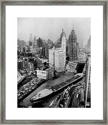Aerial View Of The Cargo Ship Marine Framed Print by Everett
