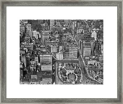 Aerial View Of Union Square Framed Print by Underwood Archives