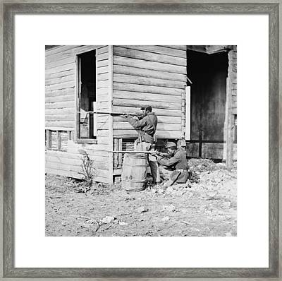 African American Soldiers Aim Framed Print by Everett