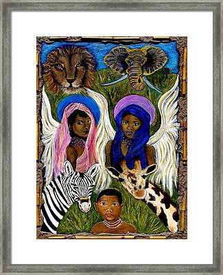 African Angels Framed Print by The Art With A Heart By Charlotte Phillips
